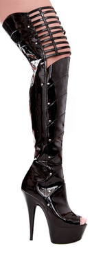 609-Katrina, 6 Inch Thigh High Boot with Knee Cut-Out - 609-Katrina  * Made by ELLIE Shoes