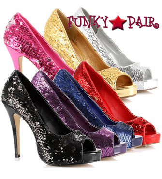 415-Flamingo, 4 Inch Peep Toe Sequence Pump Made By ELLIE Shoes