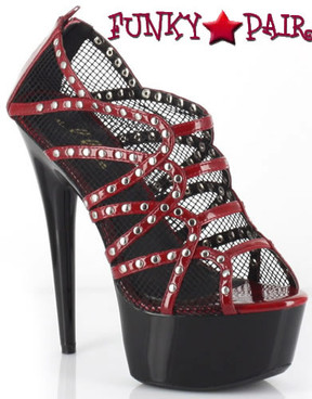 609-Casey, 6 Inch High Heel with 1.75 Inch Platform Net Shoes Made by ELLIE Shoes