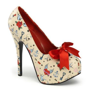 Pin-Up Couture |  Teeze-12-3, Print Platform Pump with Satin Bow