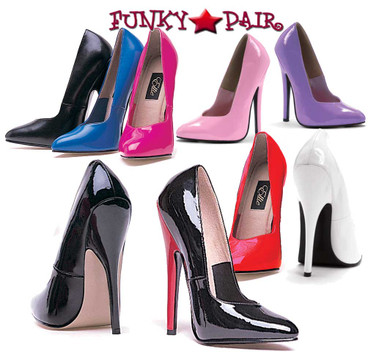 Ellie Shoes E-8260 6 Inch Fetish Pump | Available Size 5-14 Color: black, Purple, Pink, Fuchsia, Red, Purple, Blue, White and Black with Red Heel