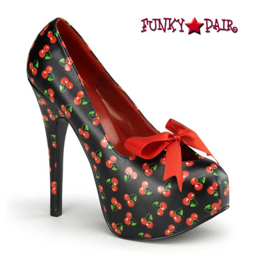 | Teeze-12-6, Cherries Print Platform Shoes | Pin-Up Couture