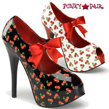 Pin-Up Couture | Teeze-25-3, Platform Pump with Cherries Print