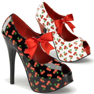 Teeze-25-3, Platform Pump with Cherries Print | Pin-Up Couture