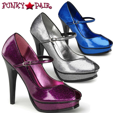Pin-Up Couture |  Pleasure-02G, Peep Toe Glitter Pump