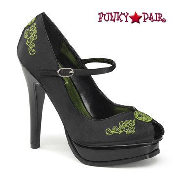 Pin-Up Couture | Pleasure-12, Peep Toe Pump with Embroidery Detail