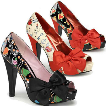 Pin-Up Couture | Bettie-13, Open Toe Pump with Large Satin Bow