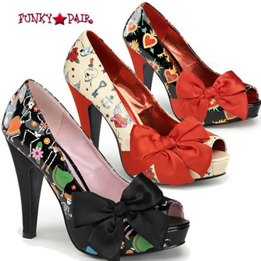 Bettie-13, Open Toe Pump with Large Satin Bow | Pin-Up Couture Shoes