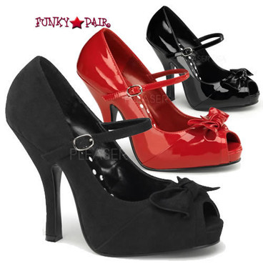Cutiepie-08, 4.5 Inch High Heel with 3/4 Inch Platform Peep Toe Mary Jane with Bow Made By Pinup Couture