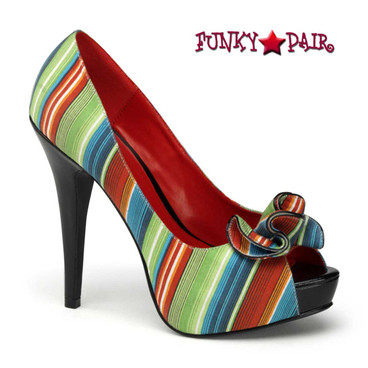 Pin-Up Couture |  Lolita-12, Multi Color Peep Toe Pump