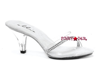 "Ellie Shoes | 305-Jesse 3"" Clear Heels with Rhinestones"