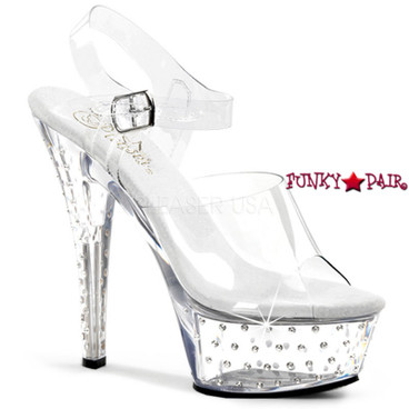 Pleaser | Stardust-608, Platform with Clear Ankle Strap Rhinestones Studded Sandal