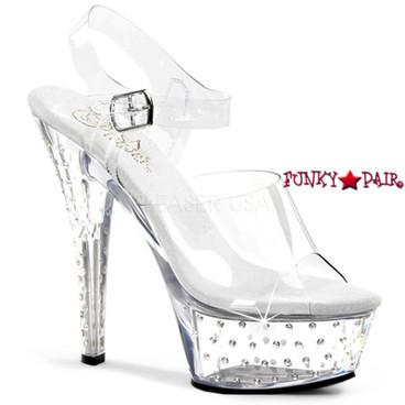 Pleaser | Stardust-608, Platform with Clear Ankle Strap Rhinestones Studded Sandal