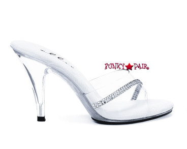 "Ellie Shoes | 405-Jesse 4"" Clear Heels with Rhinestones"