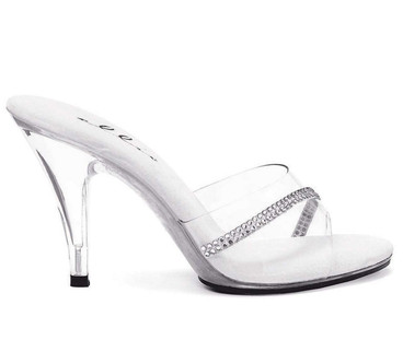 405-Jesse, 4 Inch Clear High Heel Shoes Made By ELLIE Shoes