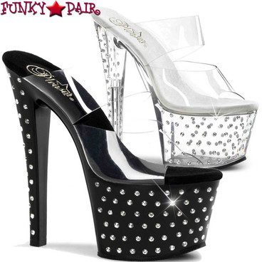 """Pleaser Stardust-702, 7"""" Two Band Rhinestones Studded Stripper Shoes"""