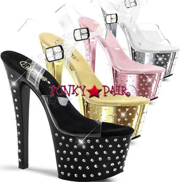 Pleaser | Stardust-708, 7 Inch Chrome Exotic Dancer Shoes