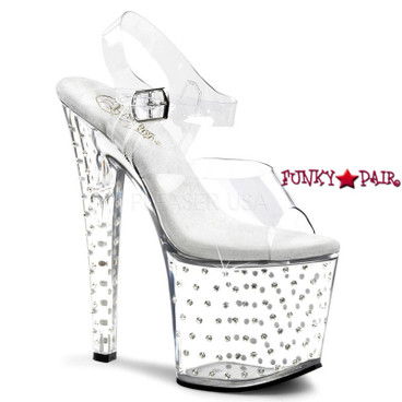 Pleaser | Stardust-758, Clear Ankle Strap Rhinestones Studded Sandal