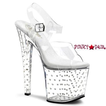 Pleaser | Stardust-758, Clear Ankle Strap Rhinestones Studded Sandal