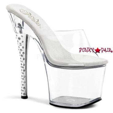 Clearance Pleaser Shoes Diamond-701, 7 Inch High Heel with 2.75 Inch Platform Slide Rhinestones Heel