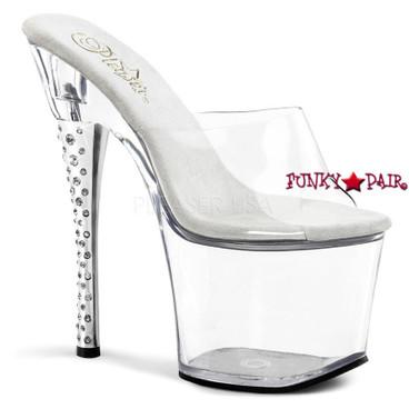 Clearance Pleaser Shoes Diamond-701, 7 Inch High Heel with 2.75 Inch Platform Slide Rhinestones Heel