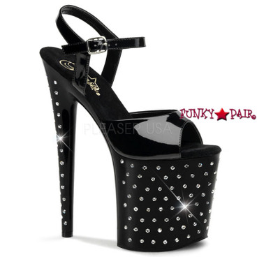 Pleaser | Stardust-809, 8 Inch High Heel with Platform Ankle Strap Rhinestones Studded Sandal