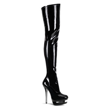 Pleaser Boots | Blondie-3000, Dual Platform Thigh High Boot
