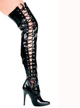 Ellie Shoes | 511-Ferocious Thigh high Stretch boots with Side Lace