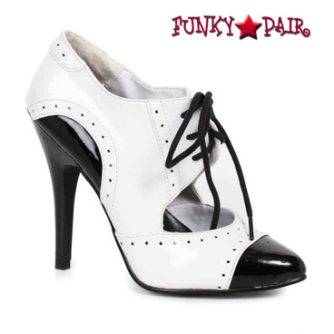 Ellie | 511-Gangster, 5 Inch High Heel Black/White Oxford Shoes