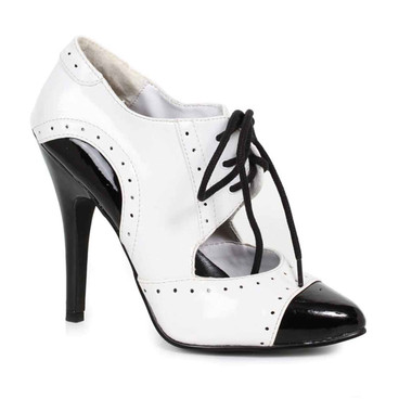 511-Gangster, 5 Inch High Heel Black/White Oxford Shoes Ellie shoes