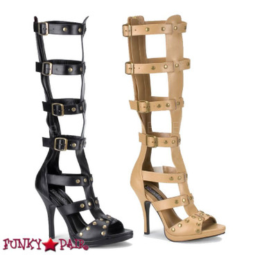 Gladiator-208 * 4.5 inch heel sandal with 4 buckle up strap high