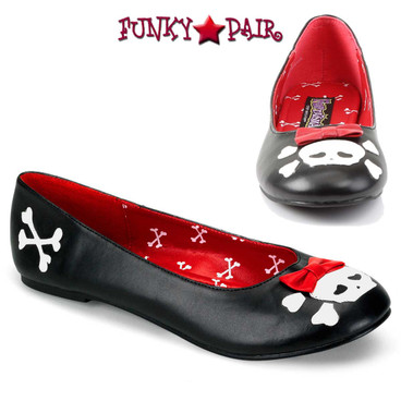 Punk-14, Flats with Skull Cross Bone by Funtasma