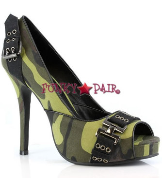 423-PFC * 4 Inch High Heel Camo Peep Toe Pump