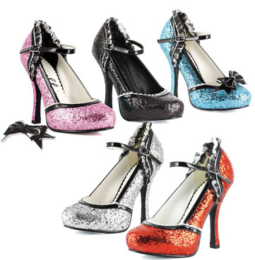 Ellie Shoes   453-Lacey 4 Inch Glitter Pump