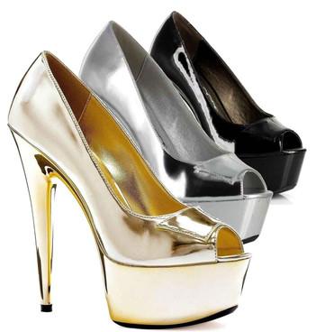 "Ellie Shoes   609-Shine 6"" Women's Peep Toe Pump"
