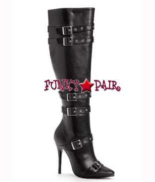 "Ellie Shoes | 516-Lexi 5"" Heel Boots with Buckles  color black faux leather"