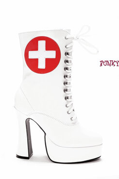 557-Nurse, 5.5 Inch Boot Fetish Nurse sz 6-14 * Made by ELLIE Shoes