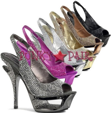 Deluxe-654RS, 5.5 Inch High Heel with 1.75 Inch Platform Slingback Rhinestones Shoes