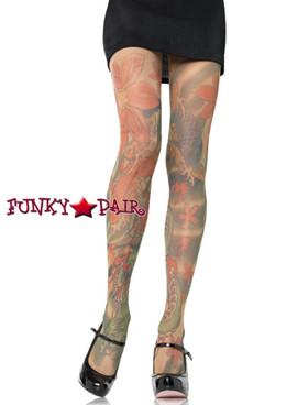 Multi Color Opaque Tattoo Print PantyHose |Leg Avenue 7510