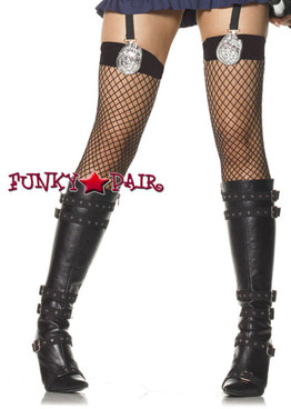 Black Police Badge Costume Stockings | Leg Avenue (9159)