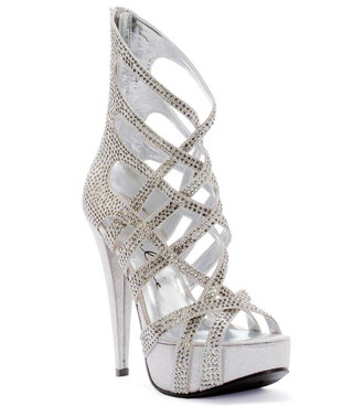 "Ellie Shoes | 532-JULIA 5"" Strappy Sandal with Rhinestones"