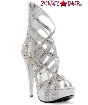 532-JULIA, 5 Inch High Heel with 1 Inch Platform Strappy Sandal with Rhinestones Made by ELLIE Shoes
