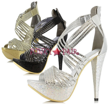 532-MIA, 5 Inch High Heel with 1 Inch Platform with Rhinestones Made by ELLIE Shoes