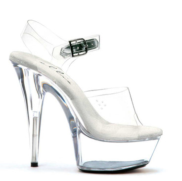 Discount Stripper Shoes  609-Brook Approximately 6 Inch Stiletto Heel Ankle Strap Clear Platform Slide Made by ELLIE Shoes