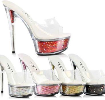 """Ellie Shoes   609-ESTRELLA 6"""" Platform Glitter Shoes"""