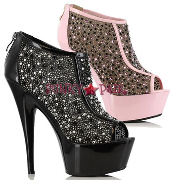 609-KAITLYN, 6 Inch High Heel with 1.75 Inch Platform Peep Toe Booties, Made by Ellie Shoes