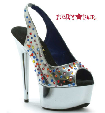 "Ellie Shoes | 609-BEDAZZLED 6"" Dancer Rhinestones Stiletto"