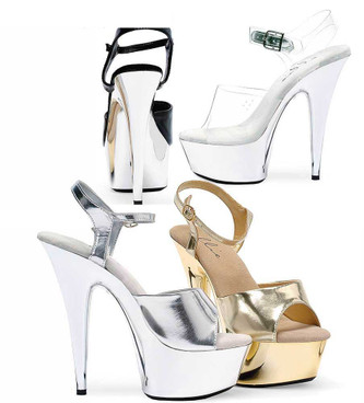 609-Chrome, 6 Inch High Heel with 1.75 Inch Platform sexy shoes Made by ELLIE Shoes color available: Gold, Clear, Silver, Black