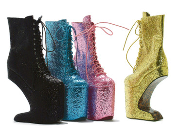 Spectator Glitter Ankle Boots | Bettie Page | BP579-CHABLIS