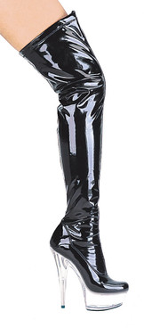 609-Fantasy, 6 Inch thigh high dress boots sz 5-12 * Made by ELLIE Shoes Color Black on Clear